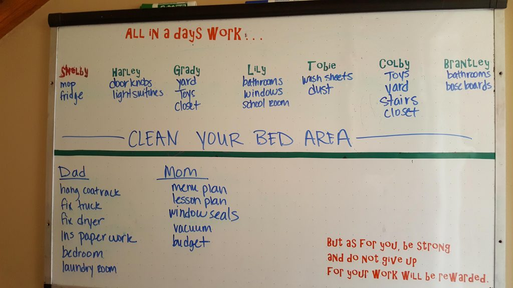 Chore schedule board for a large family.