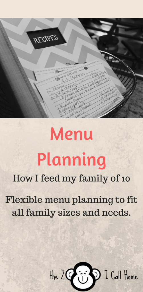 Menu Planning for all family sizes and needs.