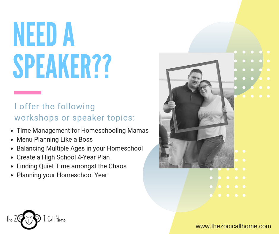 Need a speaker for your homeschool group? Let me help!