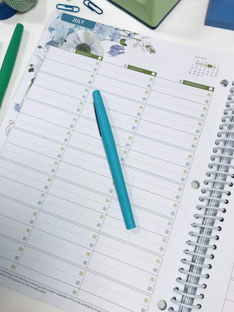 The daily log in the Well Planned Day planner.